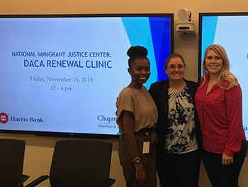 Chapman's Pro Bono Counsel Sara Ghadiri (center) and support team members Briana Armand (left) and Rachel Waddey (right) at a DACA renewal clinic hosted at Chapman's Chicago office.Chapman Hosts DACA Renewal Clinic with Volunteers from BMO's Pro Bono Program
