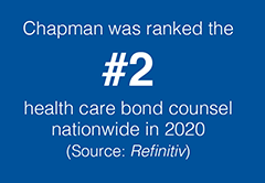 Chapman was ranked #2 health care bond counsel nationwide in 2020