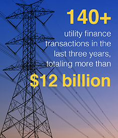 140+ utility finance transactions in the last three years, totaling more than $12 billion